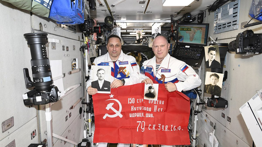 Immortal Regiment in space: Russian cosmonauts honor WWII heroes on Victory Day