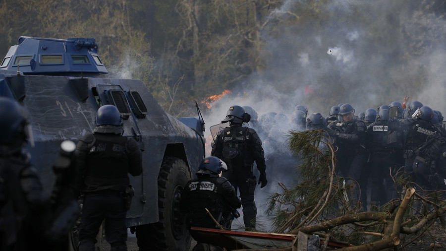 Man 'gravely injured' by 'tear gas grenade' amid police standoff with eco-activists in France