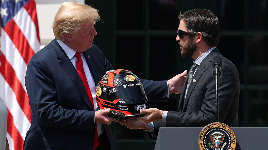 Donald Trump heaps praise on NASCAR for continuing to stand for national anthem