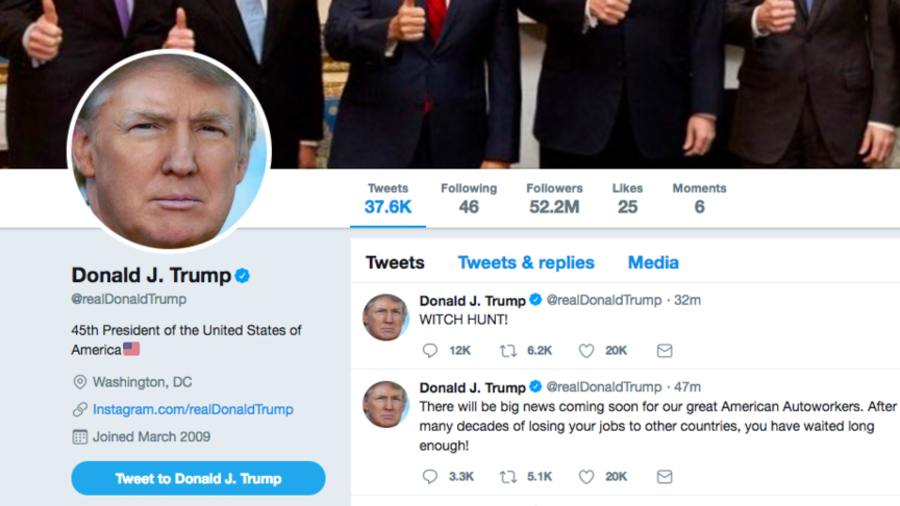 WITCH HUNT! Trump confuses Twitter with unexplained tweet