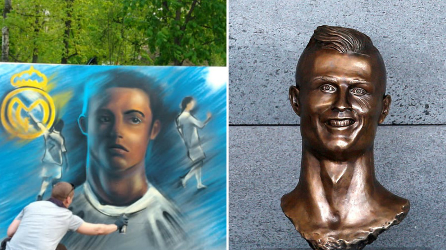 Ronal-do'h! Unconvincing Cristiano graffiti in Moscow park could be new rival to airport bust