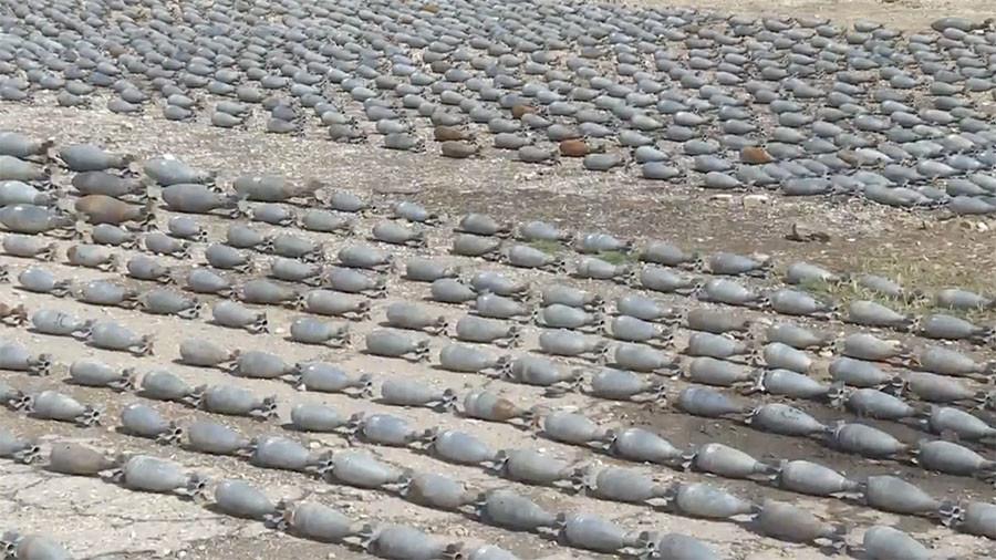 Scores of NATO-made mines found amid massive ammo cache in Syria's Douma (VIDEO)