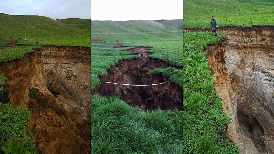 Six-Story Sinkhole Opens Under New Zealand Farm