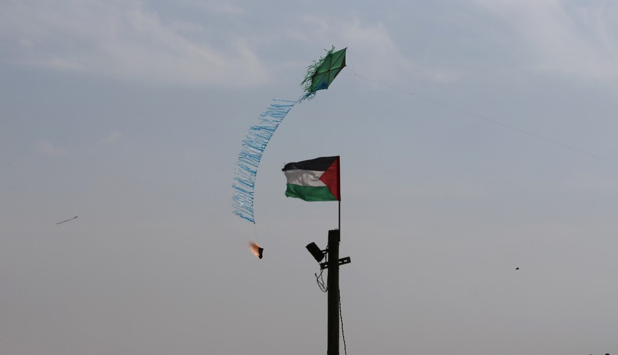 'Incendiary kite' launch site in Gaza bombed by Israeli aircraft