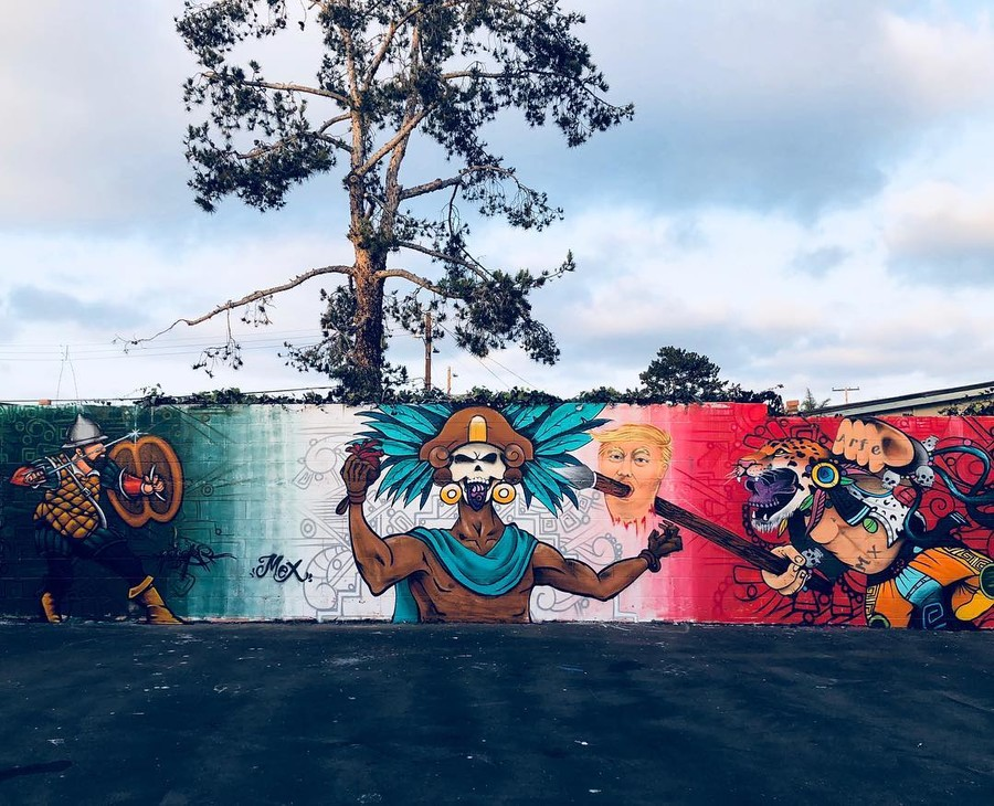 Mural with Trump's head on a spear brings death threats to artist