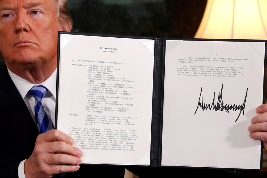 US withdrawal from Iran nuclear deal news