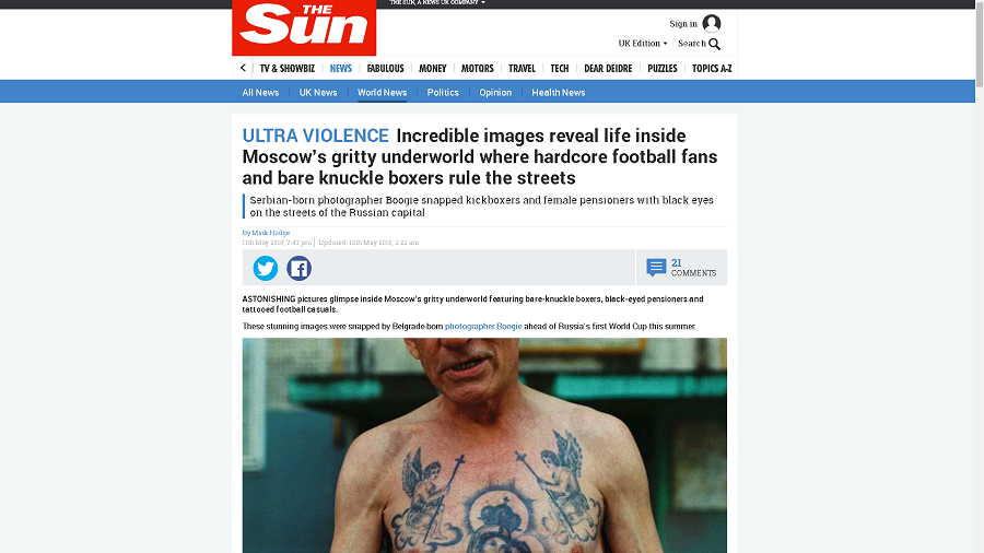 'You can take everything out of context': Author of pics in The Sun 'Russian Ultras' story to RT