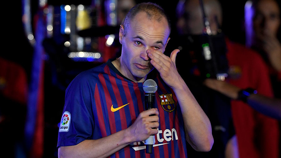 Barcelona legend Iniesta bids emotional late-night farewell to Camp Nou