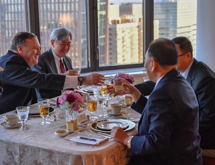 Pompeo wines and dines North Korean negotiator in New York (PHOTOS)