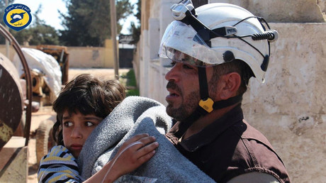 The Syria Civil Defence, also better known as the White Helmets, Volunteers in the Syria Civil Defence help victims in a a suspected chemical attack.  © Syria Civil Defence