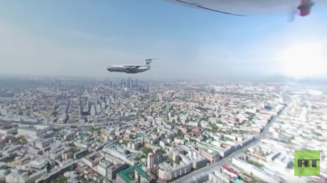 V-Day parade 360: IL-76 flying over Moscow during May 9 parade rehearsal