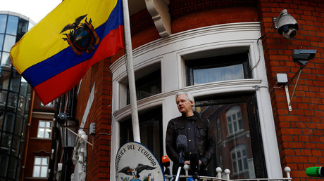 Julian Assange on the balcony of the Ecuadorian embassy in London in May last year © Peter Nicholls