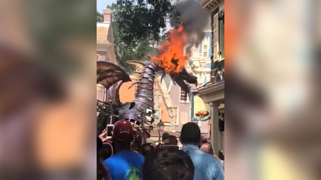 Fire-breathing Disney dragon bursts into flames during parade (VIDEOS)