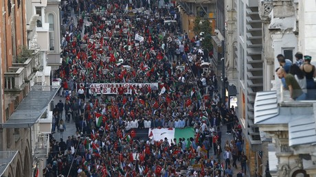 A pro-Palestinian protest in Istanbul on Monday.