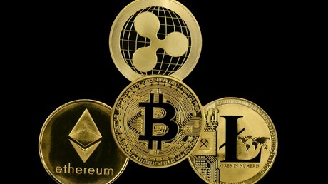 Symbol image cryptocurrency, digital currency, gold coins Bitcoin, Ethereum, Ripple, Litecoin © Michael Weber