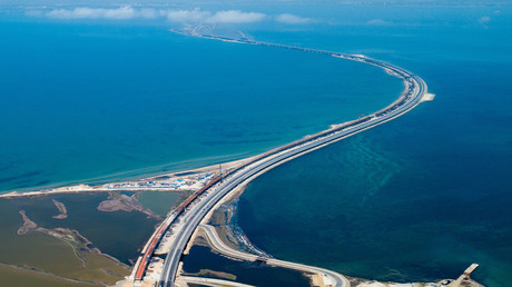 Aerial view of the Crimean bridge. © Vitaly Timkiv