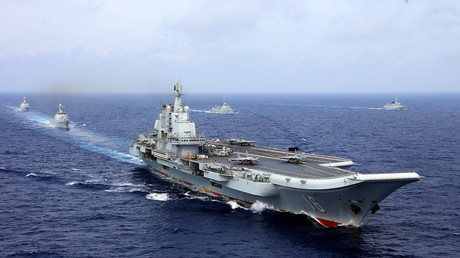 China's aircraft carrier Liaoning takes part in a military drill
