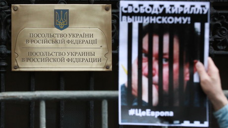 A protester, pictured at the Ukrainian embassy in Moscow on Friday, holds a banner during a protest over Kirill Vyshynsky's arrest. © Anton Denisov