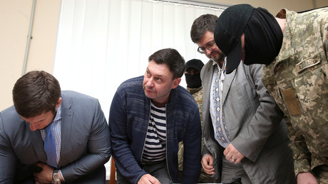 Kirill Vyshinsky, the director of Russian state news agency RIA Novosti Ukraine, attends a court hearing in Kherson, Ukraine May 17, 2018.