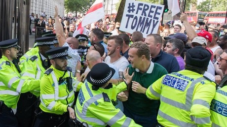 Tommy Robinson's supporters on Saturday outside Downing Street
