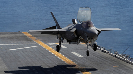 A US F-35B prepares for a vertical landing on board a vessel during an exercise off the coast of Japan © Issei Kato/Reuters