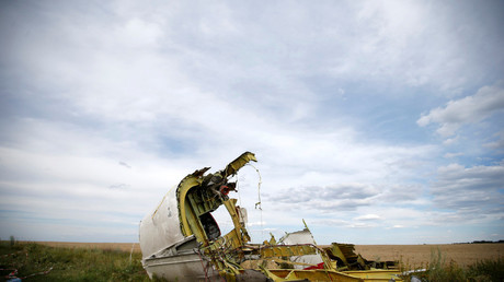 A site of a Malaysia Airlines Boeing 777 plane crash