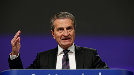 EU Budget Commissioner Oettinger holds a news conference in Brussels © Francois Lenoir