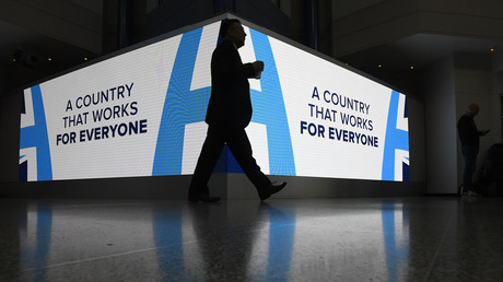 The 2016 Conservative Party conference slogan. © Toby Melville