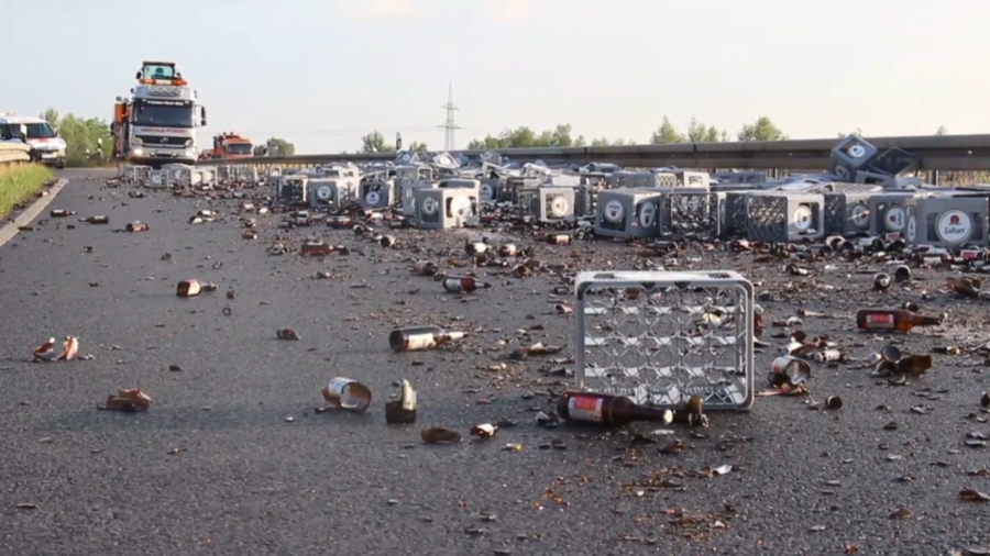 Brew must be joking! 350 beer crates spill on German motorway (VIDEO)