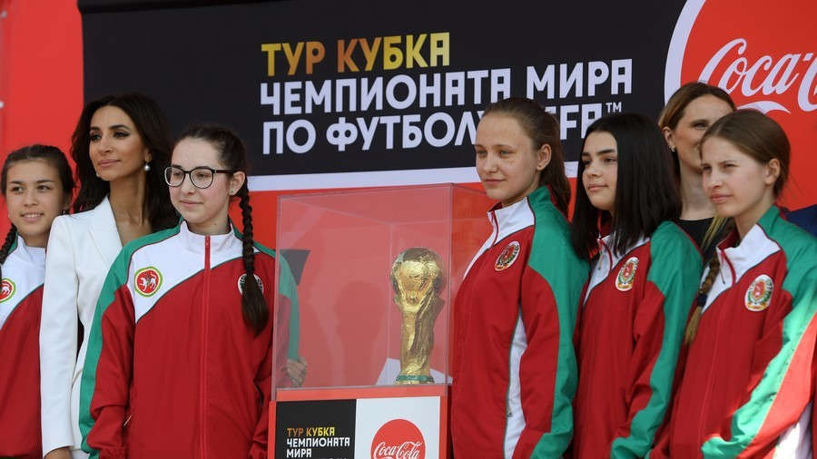 World Cup opening game ball girls attend training on 'how to throw the footballs properly'