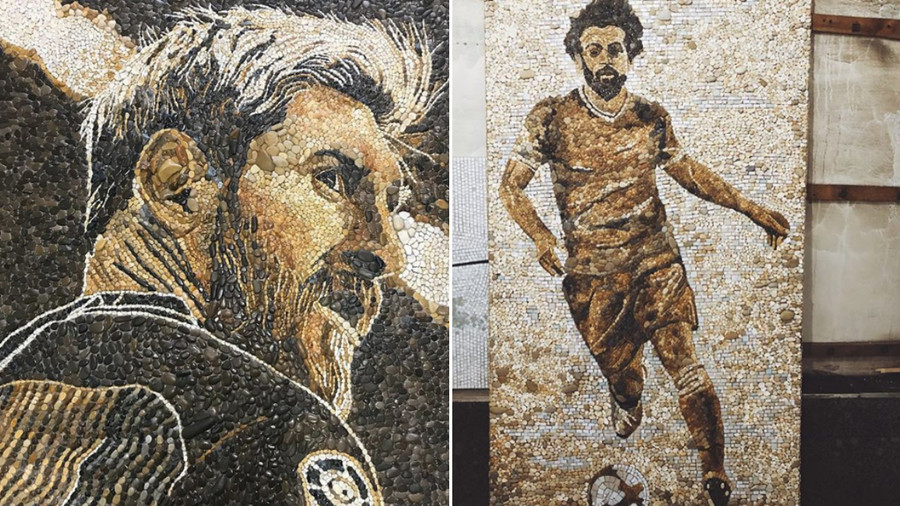 Stone me! Stunning Salah & Messi mosaics appear in Kazan ahead of World Cup