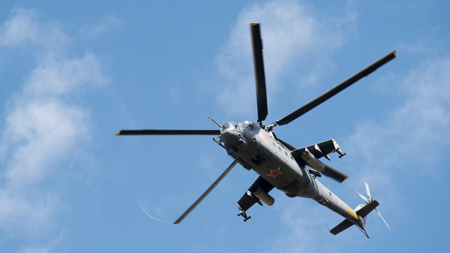 Russian attack helicopters practice hitting targets (VIDEO)