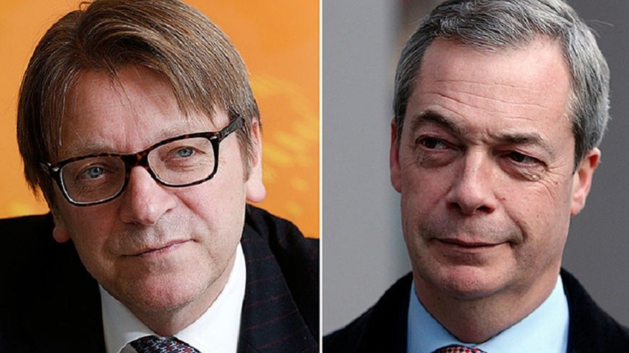 Farage attacks Verhofstadt for 'lie' that he's a pro-Putin 'fifth-columnist' trying to 'kill' the EU