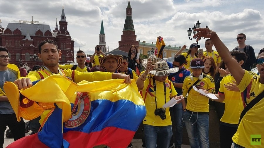'Spasibo Russia!' Colombia fans thank host nation as World Cup fever takes over Moscow