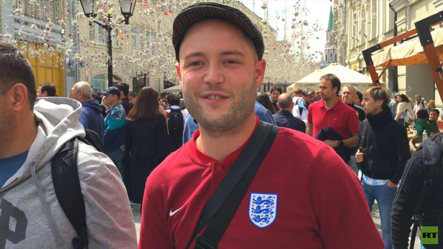 'Absolutely no trouble, pleasantly surprised!' England fan in Moscow enjoys carnival atmosphere