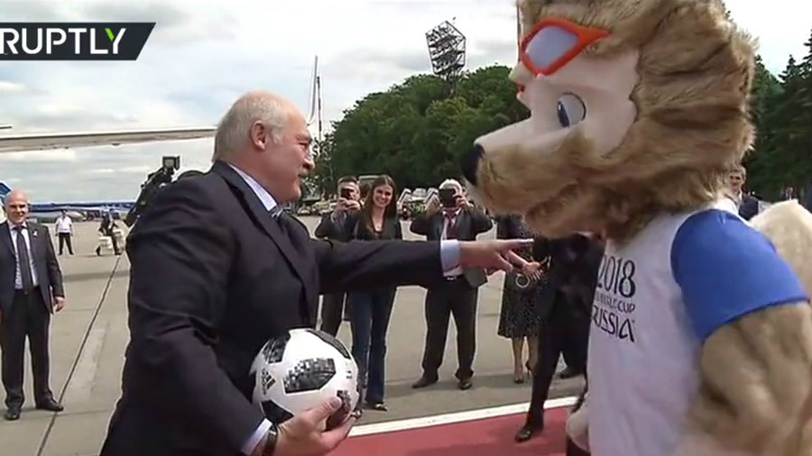 'You are a goalie': Belarus President Lukashenko plays football with Zabivaka upon arrival in Russia