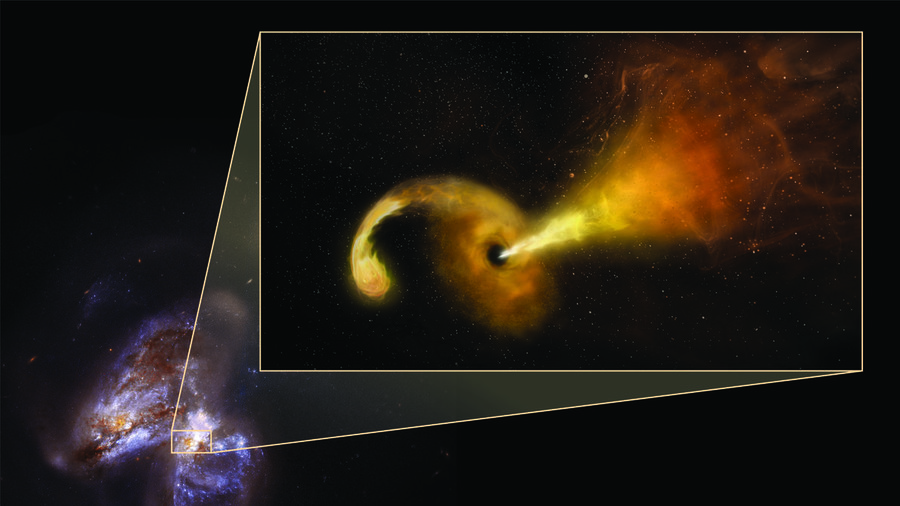 Supermassive black hole annihilates star, launches jets at speed of light (IMAGE)