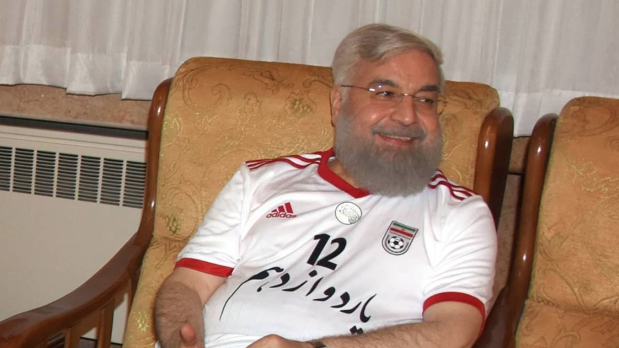 Rouhani cheers Iran's World Cup win against Morocco wearing team jersey (PHOTOS)