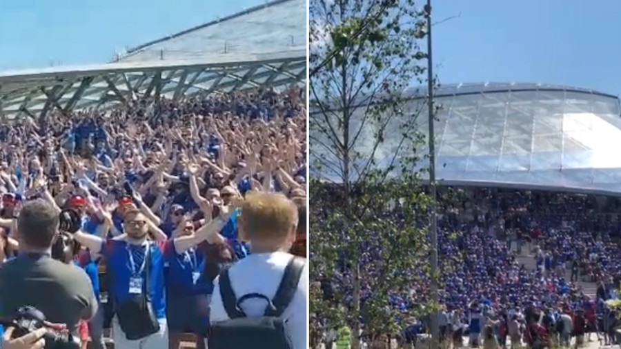 Watch thousands of Iceland fans perform Viking hand clap near Kremlin before Argentina game (VIDEO)