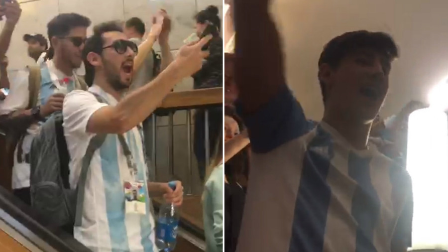 Argentina fans in full voice as they take over Moscow metro ahead of Iceland clash (VIDEO)