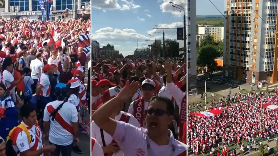 Peru fans storm tiny World Cup host city Saransk before Denmark clash (VIDEOS)