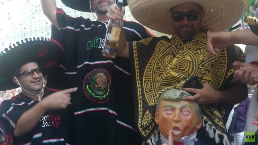 Mexican football fans mock Trump at World Cup in Moscow