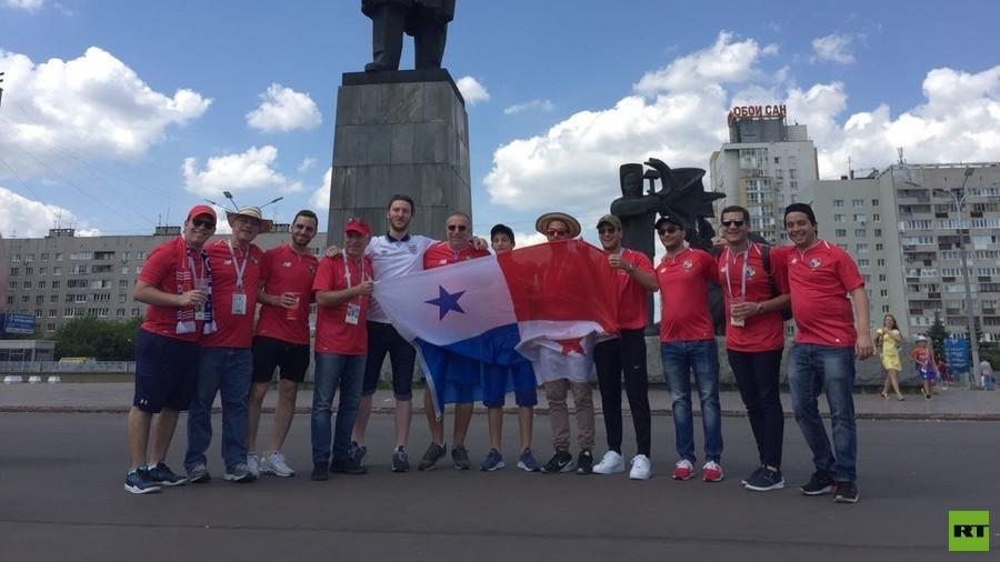 Panama & England fans mix on Nizhny Novgorod's Lenin Square ahead of World Cup encounter