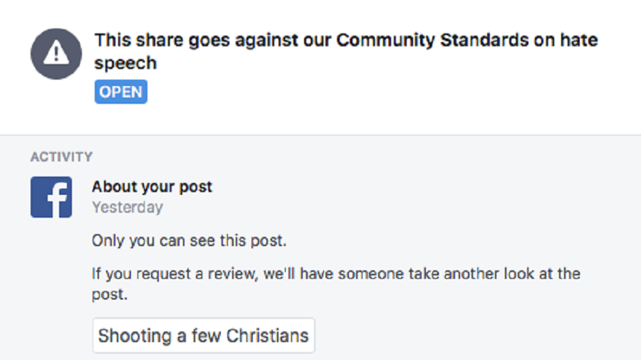 Facebook bans photographer who went 'off to shoot some Christians' for work