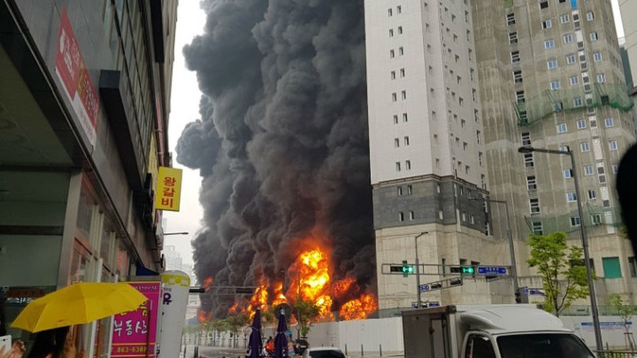 Major blast & thick smoke grip construction site in S. Korea, killing 3 people (PHOTOS, VIDEO)