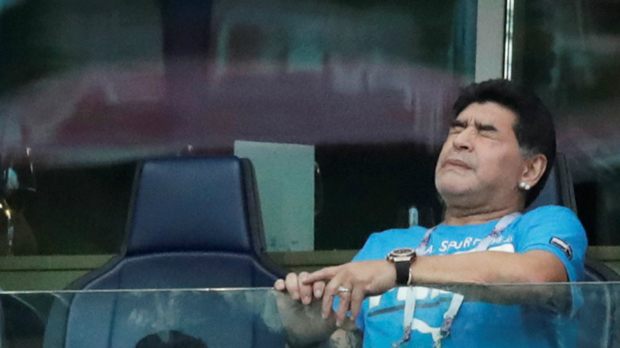 Maradona assisted from stadium seat after pulsating Argentina game & celebrations (VIDEO)