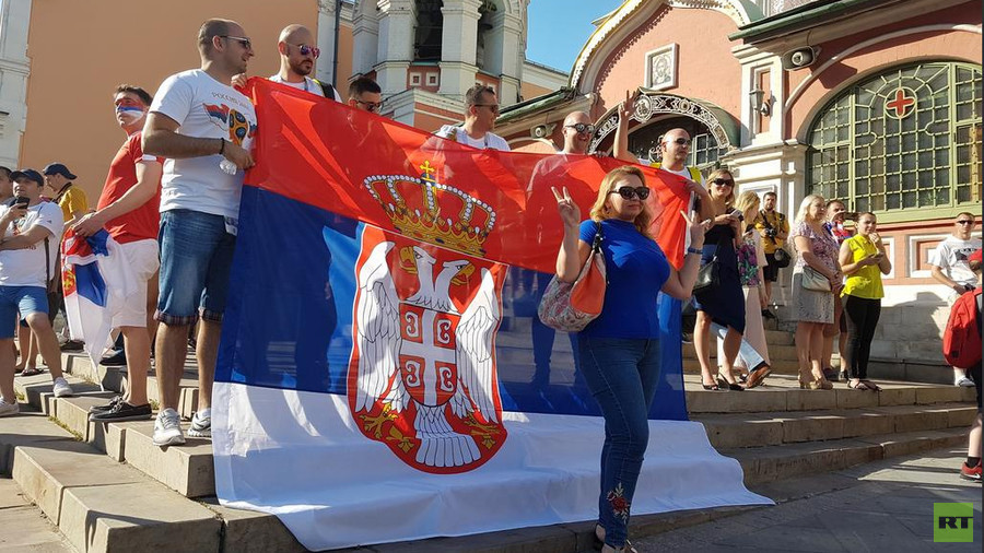 Serbian fans fill Moscow center ahead of crucial Brazil clash