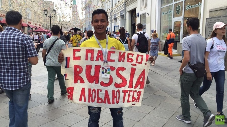 'Thank you, I love you!' Colombian fan with parting World Cup message to Russia (VIDEO)