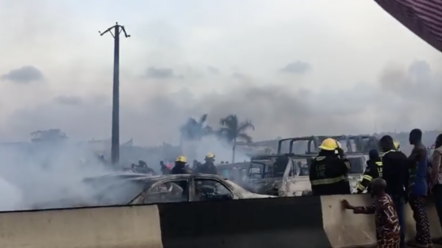 Over 50 cars destroyed in horrific gas tanker explosion on Nigerian expressway (VIDEOS)