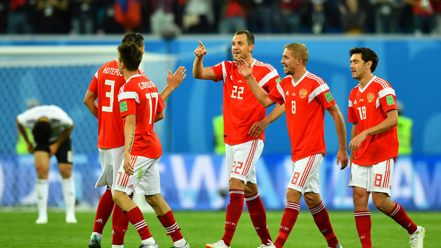 Host Russia ousts Spain to continue World Cup party
